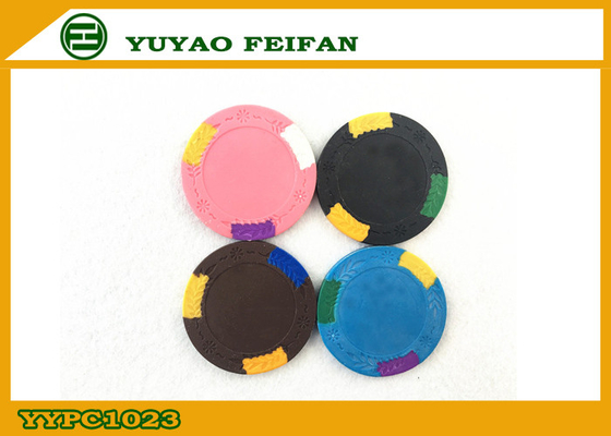 China Custom Design Classic Antique Clay Poker Chips With Leaves In Edge supplier