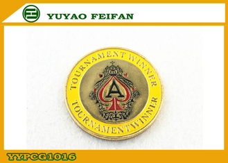 China Tournament Winner Bronze Funny Poker Chips In Center Yellow Surround Edge supplier