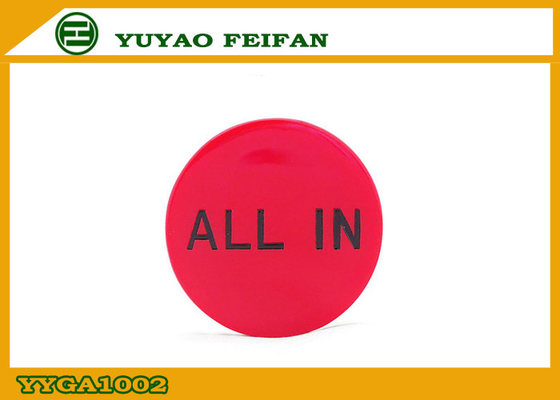China Customized Promotional Red Poker Dealer Button ABS Material 30 x 3mm supplier