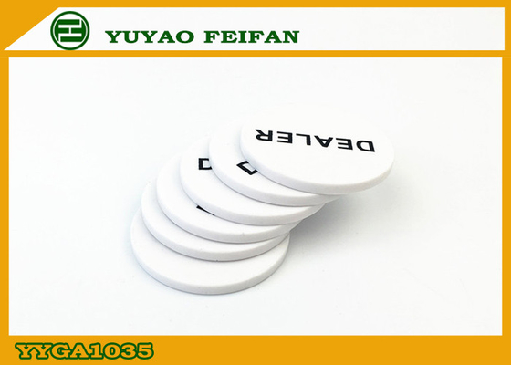 China Poker Game Custom Dealer Button White PP Material Printing Smooth supplier
