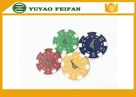 China Casino Borad Game 11.5 Gram Customised Poker Chips With Foil Stamping Sticker supplier