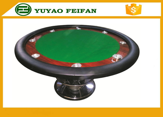 China Classic 8 People 48'' Small Round Poker Table One Steel Leg For Poker Game supplier