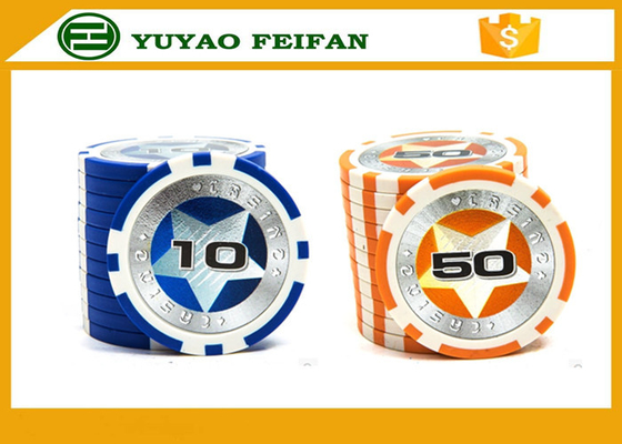 China Round Customised Poker Chips Plastic Game Poker Chips With Laser Star Stickers supplier