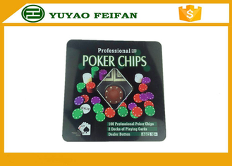China 100 Pcs Tin Box Texas Holdem Luxury Poker Chips Set Personalized Poker Chips supplier