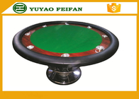 Classic 8 People 48'' Small Round Poker Table One Steel Leg For Poker Game