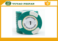 China Clay Two Block TEXAS HOLDEM Clay Poker Chips With Paper Stickers / Engraved Words company