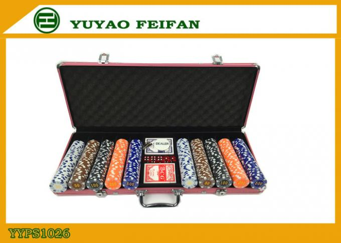 11 G Las Vegas 500 PC Poker Chip Set Round Corner Dice Poker Chips