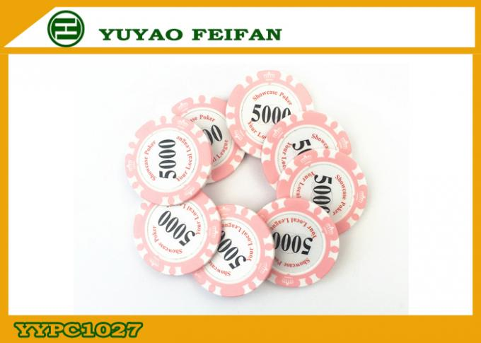 Two Solid Professional Clay Poker Chips Beautiful Pink 14 Gram