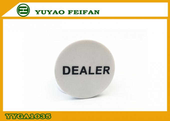 Poker Game Custom Dealer Button White PP Material Printing Smooth