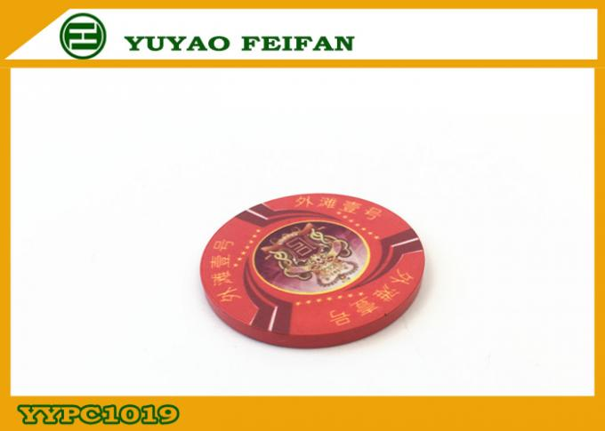 One Bund Custom Pure Ceramic Poker Chip Design Vivid Red For Supermarket