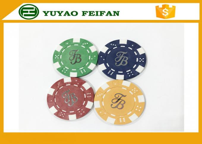 Casino Borad Game 11.5 Gram Customised Poker Chips With Foil Stamping Sticker