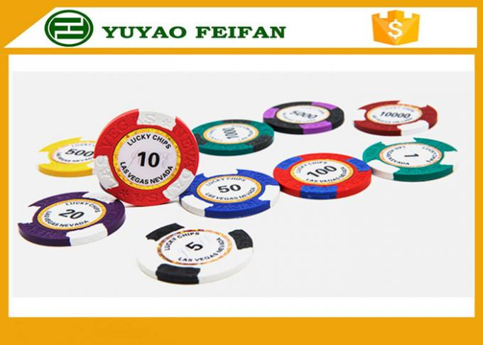 Clay Two Block TEXAS HOLDEM Clay Poker Chips With Paper Stickers / Engraved Words