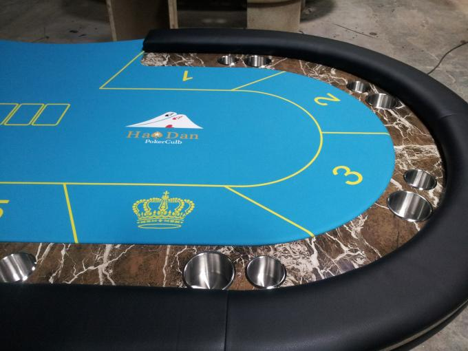 Indoor Marble Casino Poker Gaming Table Environment Friendly With Two Metal Legs