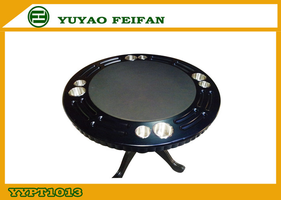China Classical Four People Round Wooden Poker Table Double Cup Holder factory