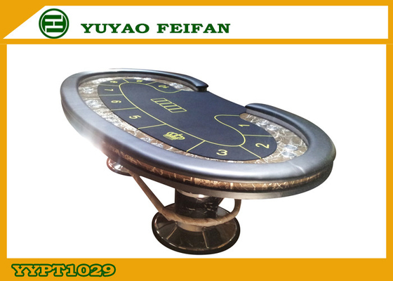 China Indoor Casino Poker Table Leather Surround Oval Square Metal Leg factory