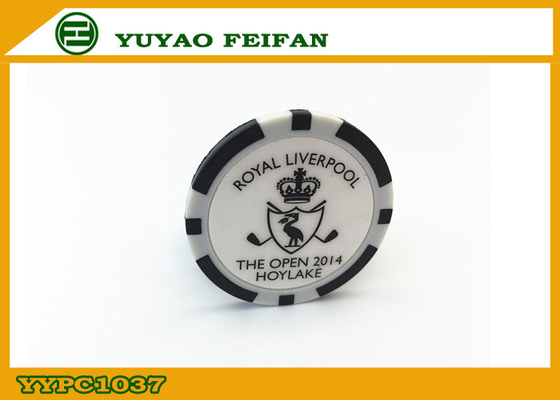 China PS / Ssilver Casino Customized Poker Chips Single Logo Sticker factory