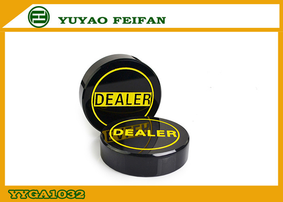 China Deluxe Acrylic Poker Dealer Button Black With Yellow Letters 70mm Diameter distributor