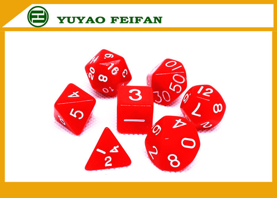 China Poker Accessories White / Solid 4 6 8 10 12 Polyhedral Dice Set , Custom 20 Sided Dice distributor