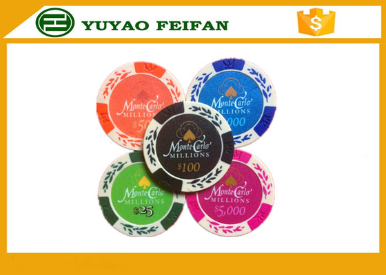 China Wheat Crown 13.5 G Casino Monte Carlo Clay Poker Chips With Two Side Stickers distributor