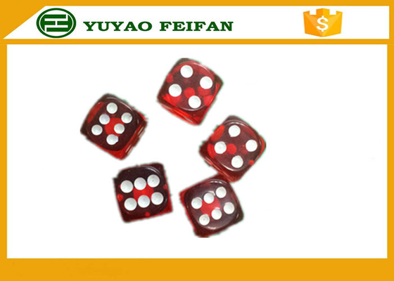 China Standard Casino 12mm Transparent Red Custom Dice Sets With White Dot distributor