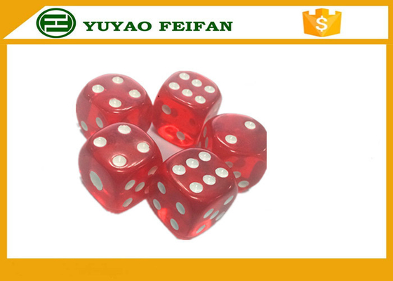 China 19mm Acrylic Transparent Red 6 Sided Dice Sets With White Spot / Round Corner distributor
