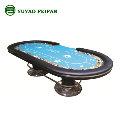 China Indoor Marble Casino Poker Gaming Table Environment Friendly With Two Metal Legs distributor