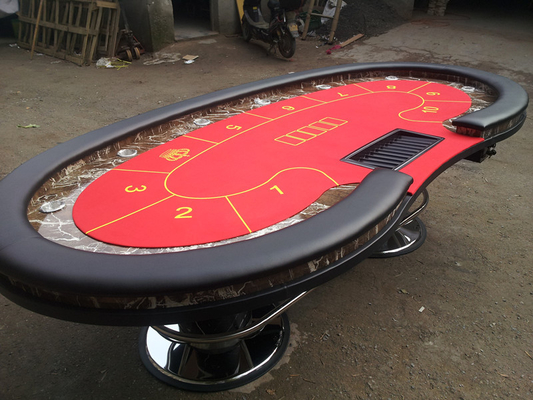 China Red Oval Marble Texas Holdem Poker Table Two  Metal Legs High Top Poker Table factory
