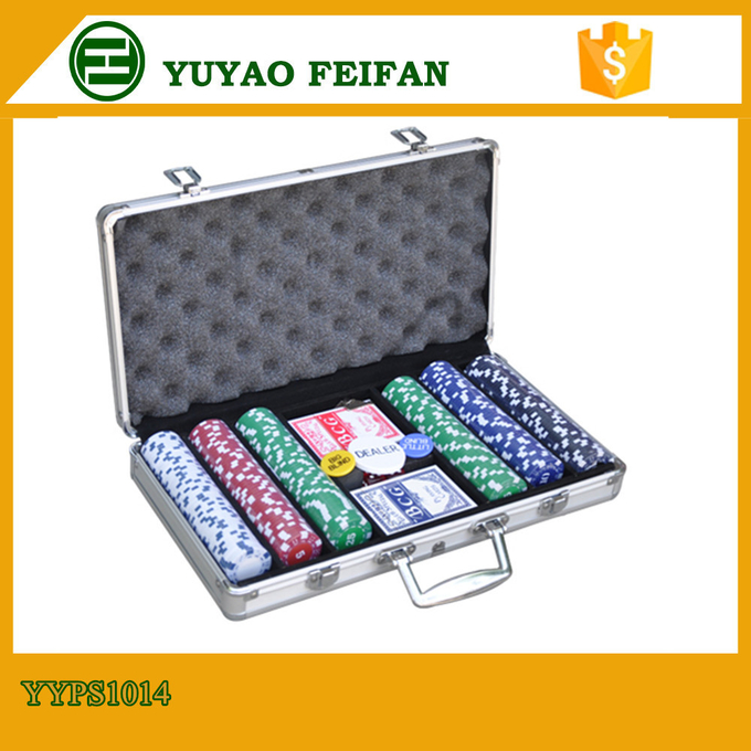 6 Colors Professional Poker Chips Sets For Casino 300 Pcs Round Corner