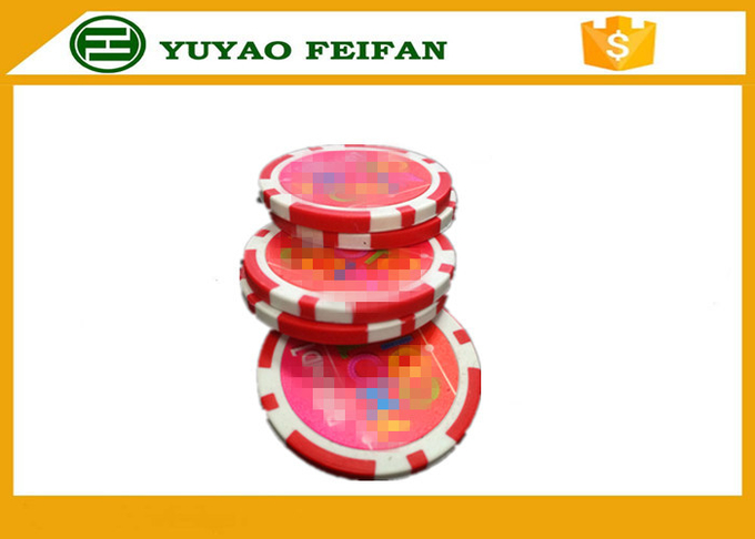 30*3mm Plastic 7g Light Custom Poker Chips With Two Custom Stickers