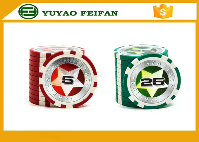 Round Customised Poker Chips Plastic Game Poker Chips With Laser Star Stickers